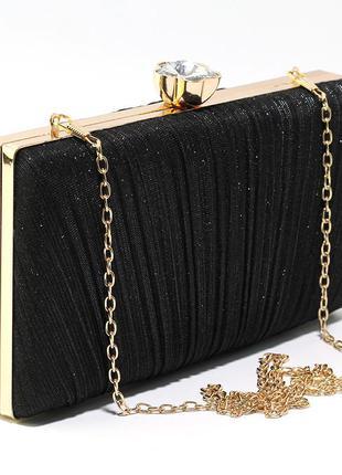 Клатч бокс вечерний женский мини сумочка на выпускной с блестками черная на цепочке