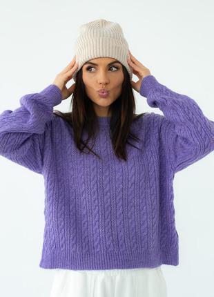 Лавандовый теплый шерстяной джемпер свитер с узором в косичку