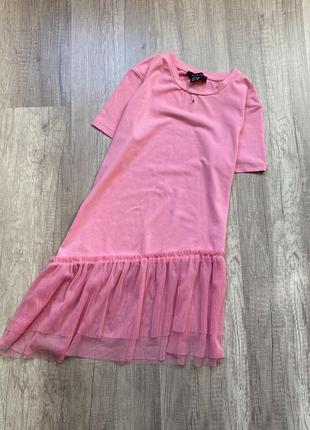 Новая розовая футболка, блуза оверсайз с фатиновым низом atmosphere, p.s/m