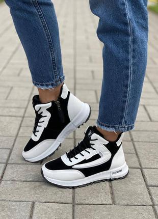 Белые с черным утепленные высокие кроссовки
