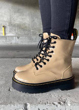 🍂 демисезонные лакированные женские ботинки dr. martens jadon beige patent premium