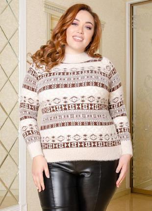 Женский свитер из альпаки под горло