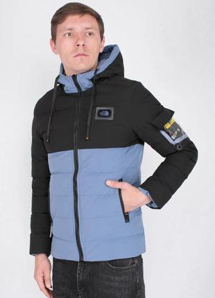 Мужская черно-синяя зимняя куртка-трансформер