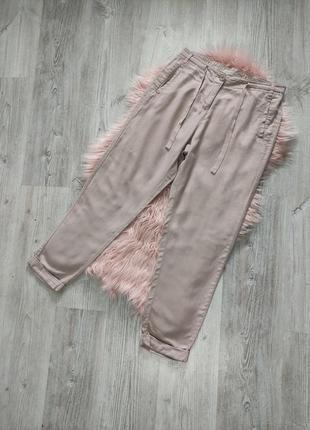 Базовые бежевые льняные брюки штаны лен вискоза
