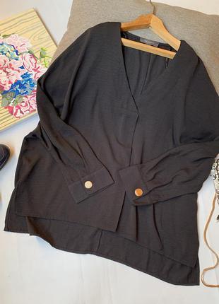 Блуза чёрная primark осенняя офисная вольная