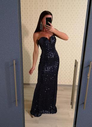 Вечернее платье в паетках, платье рыбка, блестящее платье, нарядное платье