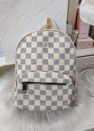 Рюкзак бренд в клетку женский серый бежевый кожаный кожа экокожа на молнии