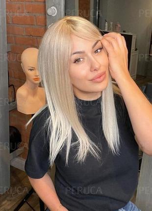 5️⃣0️⃣cm парик натуральный стервозный блонд) наращивание волос перука окрашивание трессы