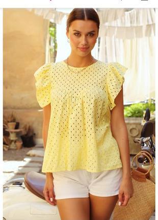 Блуза прошва ришелье с рукавом бабочкой широкая свободная летняя блуза