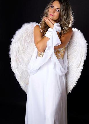 Большие маскарадные белые крылья ангела амура 60см +подарок