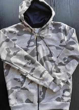 Кофта худи с капюшоном на змейке мужская р. s/m l/xl