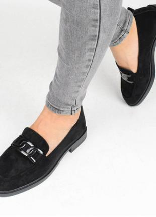 Туфли женские замшевые черные (336988) / 100883