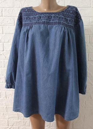 Джинсовая блузка с вышивкой cotton в идеальном состоянии 4xl
