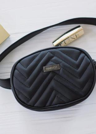 Женская поясная сумка бананка, черная сумка на пояс