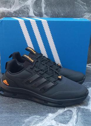Мужские кроссовки adidas galaxy кожаные, черные