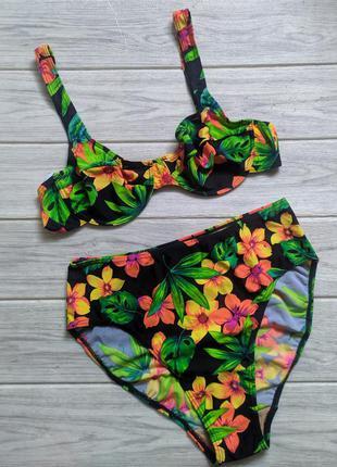 Яркий тропический купальник с высокой посадкой с косточками с чашечками
