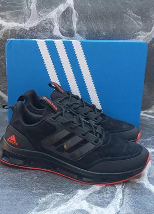 Мужские кроссовки adidas galaxy future черные, замшевые