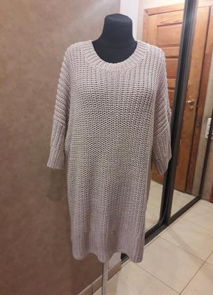 Удлиненный свитер крупной вязки