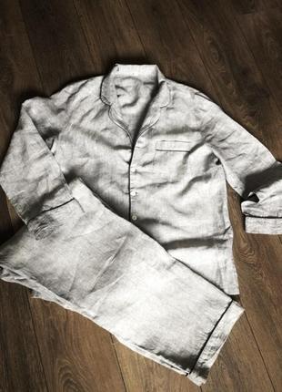 Шикарный брендовый премиум костюм плотный лён тёплая пижама