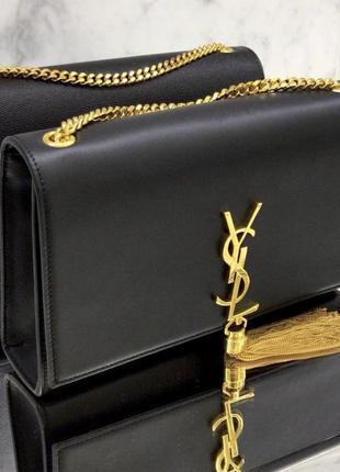 Шикарная чёрная кожаная сумка kate bag на цепочке натуральная кожа