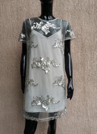 Платье туника коротка сукня new look petite uk 12
