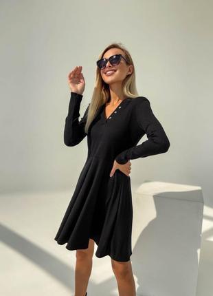 Платье мини женское короткое трикотажное с рукавом базовое черное
