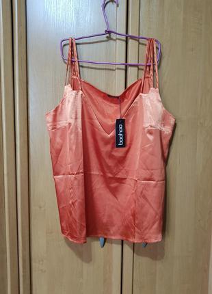 Стильная атласная майка-блуза, большая перламутро-оранжевая маечка-блузка