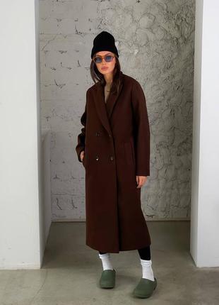 Пальто коричневое кашемир