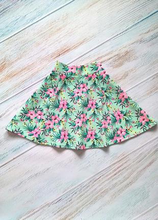 🍭яркая салатовая юбка солнце клеш с цветочным принтом divided