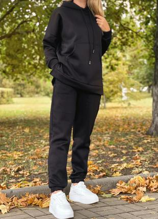 Спортивный костюм женский демисезон батал на флисе утепленный черный