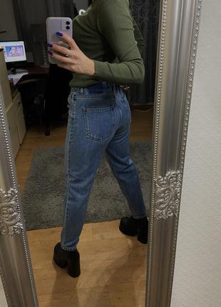 Синие джинсы с высокой талией джинсы pull&bear