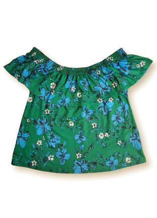 Яркий зелёный топ блузка с оборкой приспущенные плечи gina tricot размер xs