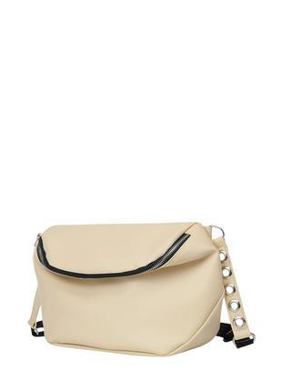 Молочная стильная вместительная сумка кросс боди через плечо