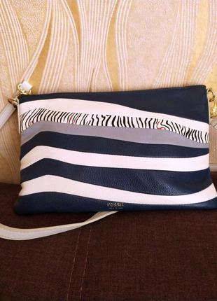 Синяя кожаная сумка fossil