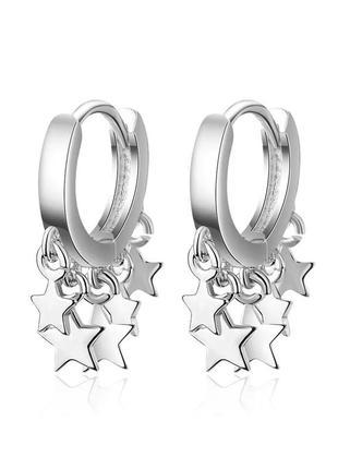 Серьги серебро 925 покрытие серёжки колечки звездочки подвески