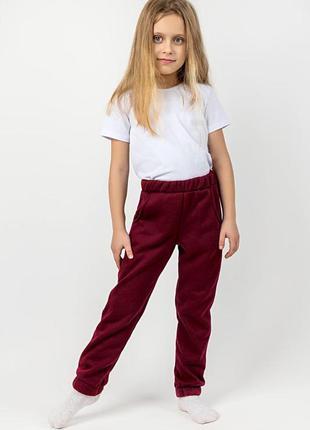 Детские теплые штаны, бордовые