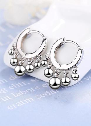 Серьги серебро 925 покрытие сережки колечки с шариками