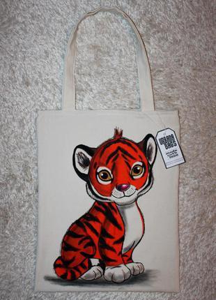 """Текстильная сумка с рисунком """"тигрёнок"""""""