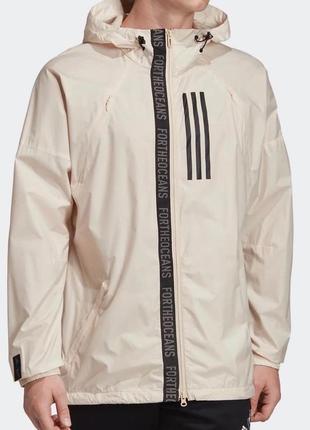 Женская бежевая спортивная куртка, ветровка из нагрудным карманом adidas original