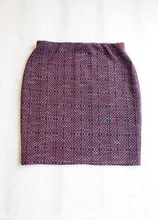 Юбка мини бордовая в облипку в узор new look размер с
