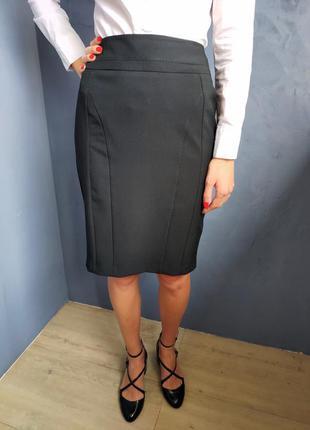 Классическая черная юбка карандаш new look размер с-м