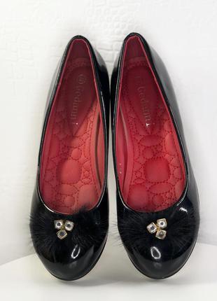 Туфли лодочки с мехом норки ,р.36-37