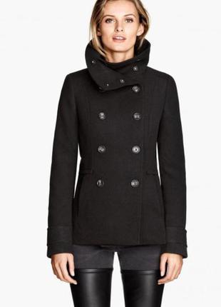 H&m пальто женское до середины бедра двубортное