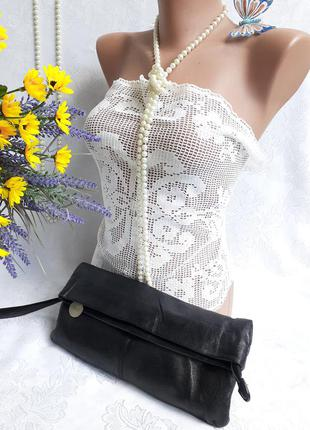 Клатч сумка 100% лайковая натуральная кожа люкс на петле на руку багет на змейке