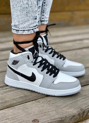❄️ зимние женские кроссовки на меху nike air jordan 1 mid grey fur
