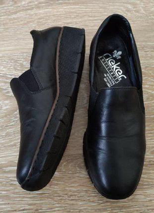 Кожаные туфли rieker - натуральная кожа, идеальное состояние туфлі шкіряні