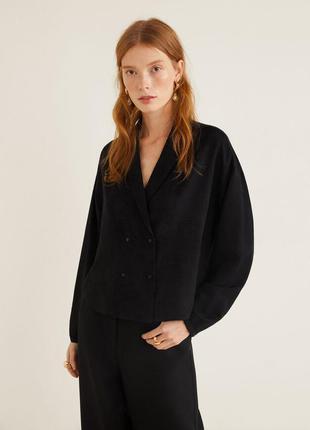 Черная укороченная двубортная блузка, блуза-жакет mango