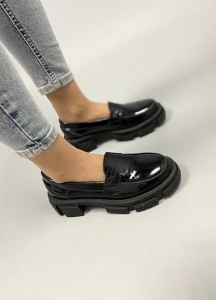 Лоферы туфли наплак натуральная кожа черные
