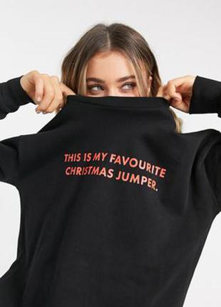 """Черный свитшот с принтом """"favourite jumper"""" на спине asos design christmas"""