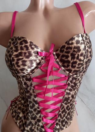Шикарный корсет бюстье пуш - ап принт леопард h&m